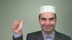 4K Happy Muslim Man Smiling Thumbs Up Stock Footage