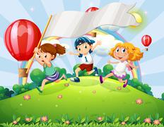 Kids with an empty banner running at the hilltop with a rainbow - stock illustration