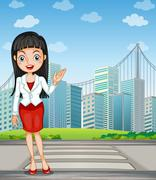 A pretty woman presenting the tall buildings - stock illustration