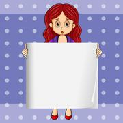 Stock Illustration of A shocked girl holding an empty signboard