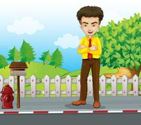 Stock Illustration of A smiling tall businessman standing near the mailbox