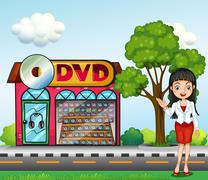 A girl in front of the dvd store Stock Illustration