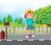 A young boy standing at the streetside near the wooden mailbox Stock Illustration