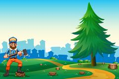 A hilltop with a hardworking woodman holding an axe Stock Illustration