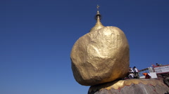 Buddhist Devotees at Kyaiktiyo Pagoda aka Golden Rock, Mon State, Myanmar Stock Footage