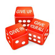 give up or in your all words on dice - stock illustration