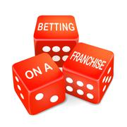 Betting on a franchise words on three red dice Stock Illustration
