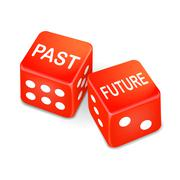 Past and future words on two red dice Stock Illustration