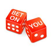 Bet on you words on two red dice Stock Illustration