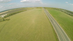 Aerial view. Highway road car top view Route Stock Footage