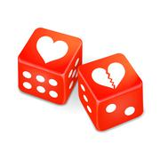Hearts on two red dice Stock Illustration