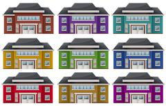 Colorful houses - stock illustration