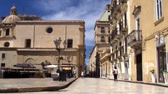 Downtown of Marsala city. Piazza della Repubblica (Loggia). Sicily Stock Footage