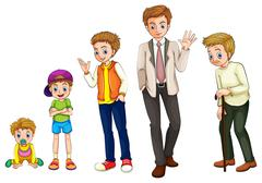 A man from childhood to adulthood Stock Illustration
