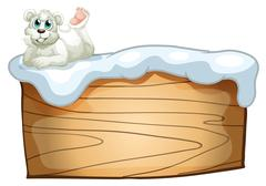 A polar bear above the empty wooden board Stock Illustration