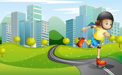 A girl rollerskating at the road with a safety helmet Stock Illustration