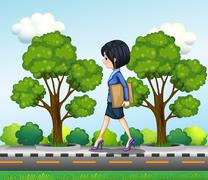 A girl walking at the street seriously with documents Stock Illustration