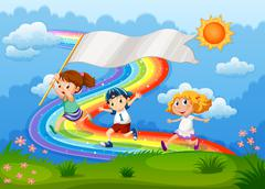 Kids running with an empty banner and a rainbow in the sky Stock Illustration