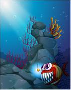 A coral reef under the sea with a piranha Stock Illustration