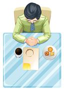 A topview of a man at the table - stock illustration