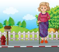 An old woman with a cane standing at the roadside near the mailbox - stock illustration