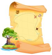 Stock Illustration of A treasure map with an island