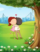 A couple hugging each other near the tree Stock Illustration