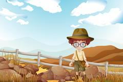 Stock Illustration of A serious explorer standing near the rocks