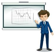 A businessman explaining the graph in the bulletin board - stock illustration