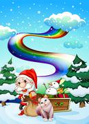 Santa and his cat in a snowy area with a rainbow Stock Illustration