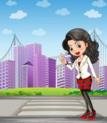 A lady with a black stockings standing at the pedestrian lane - stock illustration