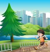 A young girl running at the riverbank - stock illustration
