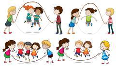 Children playing skipping rope Stock Illustration
