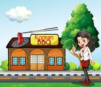 A girl in front of the Korean BBQ store Stock Illustration