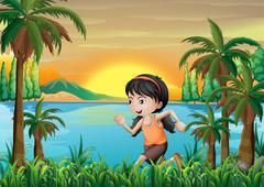 A girl jogging near the lake - stock illustration