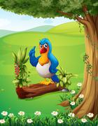 A parrot above the trunk under the tree - stock illustration
