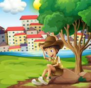 A young explorer sitting above the rock across the tall buildings Stock Illustration