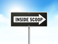 inside scoop on black road sign - stock illustration