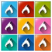 Flame icons - stock illustration