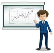 A man explaining the graph in the board Stock Illustration