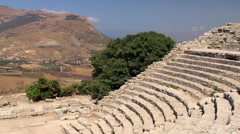 Greek theatre of Segesta Stock Footage