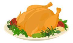 meal on dish, roasted turkey - stock illustration