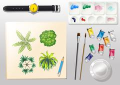 A topview of the materials for painting and a watch Stock Illustration