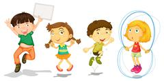 Stock Illustration of Active kids playing