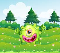 A hilltop with a playful monster Stock Illustration