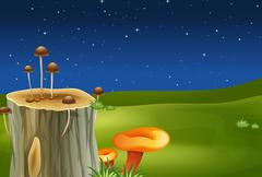 A stump with mushrooms - stock illustration