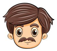 A head of an adult with a mustache Stock Illustration