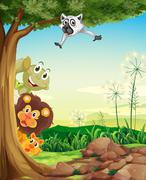 Animals hiding Stock Illustration