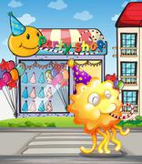 A happy orange monster at the pedestrian lane in front of the party shop - stock illustration