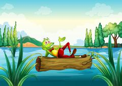 Stock Illustration of A playful frog lying above the trunk that is floating